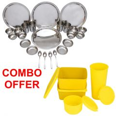 Czar Combo Of 24 Pcs Stainless Steel Dinner Set With Topware Lunch Box-SET OF 4