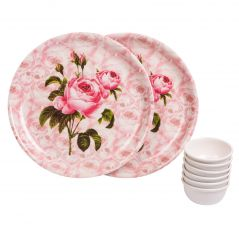 Czar 2 Pcs Melamine Pink Thali with 6 Pcs Veg Bowl