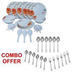 Czar Combo Of Stylon 32 Pcs Dinner Set-Sun Flower With Sleek 18 Pcs Cutlery Set
