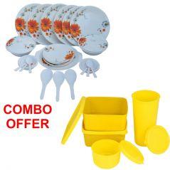Czar Combo Of Stylon 32 Pcs Dinner Set-Sun Flower With Topware Lunch Box-SET OF 4