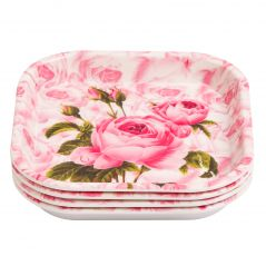 Czar 4 Pcs Snacks Pink Rose Plates