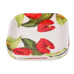 Czar 4 Pcs Snacks Plates Red Leaf