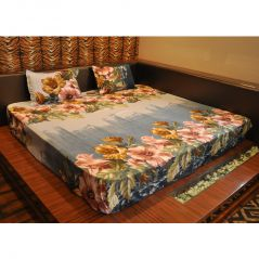 Czar 3D double bed sheet With 2 pillow covers-Blue