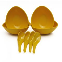 Czar Mixing 4 Bowl Set with spoon-YELLOW