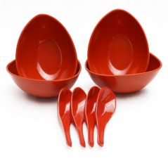 Czar Mixing 4 Bowl Set with spoon-RED
