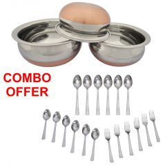 Czar Combo Of Donga Copper Bas (Set Of 3) With Sleek 18 Pcs Cutlery Set