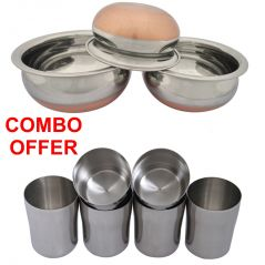 Czar Combo Of Donga Copper Bas (Set Of 3) With Stainless Steel Glass ( PACK OF 6 PCS)
