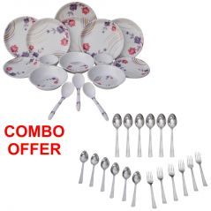 Czar Combo Of 24 Pcs Dinner Set-1004 With Sleek 18 Pcs Cutlery Set