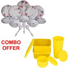 Czar Combo Of 24 Pcs Dinner Set-1004 With Topware Lunch Box-SET OF 4