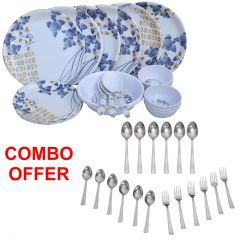 Czar Combo Of 24 Pcs Dinner Set-1005 With Sleek 18 Pcs Cutlery Set