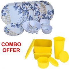 Czar Combo Of 24 Pcs Dinner Set-1005 With Topware Lunch Box-SET OF 4