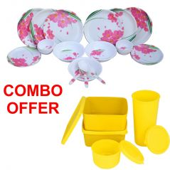 Czar Combo Of 24 Pcs Dinner Set-1006 With Topware Lunch Box-SET OF 4