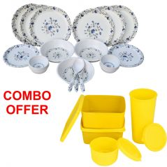 Czar Combo Of 24 Pcs Dinner Set-1009 With Topware Lunch Box-SET OF 4