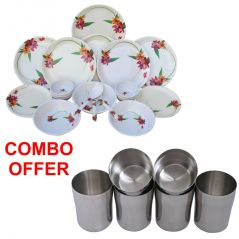 Czar combo of 24 Pcs Dinner set-1011 with Stainless Steel Glass ( PACK OF 6 PCS)
