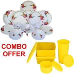 Czar Combo Of 24 Pcs Dinner Set-1011 With Topware Lunch Box-SET OF 4