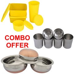 Czar Combo Of Topware Lunch Box Set Of 4,Stainless Steel Glass(pack Of 6 Pcs),Donga Copper Bas (Set Of 3)