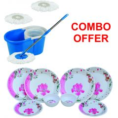 Czar Combo Of Easy Multicolor Mop With Bucket With Pink Flower 12 Pcs Dinner Set