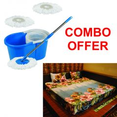 Czar Combo Of  Mop With Bucket With 3D Double Bed Sheet With 2 Pillow Covers-Blue