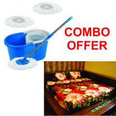 Czar Combo Of Easy Mop With Bucket With 3D Double Bed Sheet With 2 Pillow Covers-Maroon