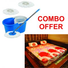 Czar Combo Of Easy Mop With Bucket With 3D Double Bed Sheet With 2 Pillow Covers- Orange
