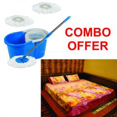 Czar Combo Of Easy  Mop With Bucket With 3D Double Bed Sheet With 2 Pillow Covers- Purple