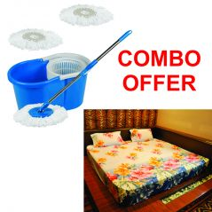Czar Combo Of Easy Mop With Bucket With 3D Double Bed Sheet With 2 Pillow Covers-Sky Blue