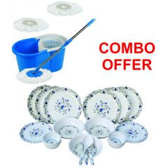 Czar Combo of Easy Mop with Bucket with 24 Pcs Dinner set-1009