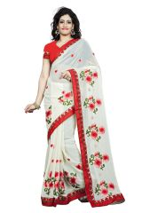 Vedant Vastram White Colour Georgette Embroidered Saree (Code - vvask_1039)