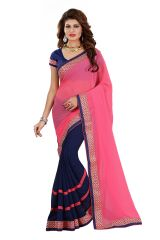 Vedant Vastram Pink Colour Georgette Embroidered Saree (Code - vvask_1061)
