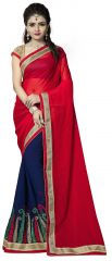 Vedant Vastram Red Colour Georgette Embroidered Saree (Code - vvask_1086)