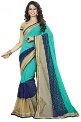 Vedant Vastram Turquoise Colour Georgette Embroidered Saree (Code - vvask_1111)
