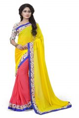 Vedant Vastram Yellow Colour Georgette Printed Saree (Code - vvask_3006)