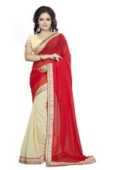 Vedant Vastram Red Colour Georgette Embroidered Saree (Code - vvask_3082)