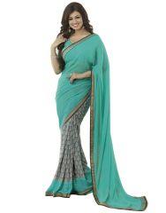 Vedant Vastram Turquoise Colour Georgette Printed Saree (Code - vvm_a4_blue)