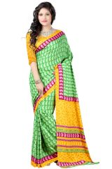Vedant Vastram Green & Yellow Colour Crepe Printed Saree (Code - vvamerican_07)