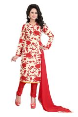 Vedant Vastram Red Colour Poly Cotton Unstitched Printed Dress Matrial (Code - vvdm_rosechiku)