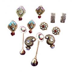 Shilpi Creation's set of 6 Oxidised Gold Plated Pink Stone Earrings 152252588900