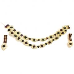 Diamond Jewellery - Diamonds Brown Green Golden Necklace Set-Eidn090916001