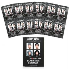 Hair4Real Hair Coloring Shampoo Black Set of 12 12 (Total 24Sets-600ml) with 24 Sets of Gloves & 2 Apron's Free