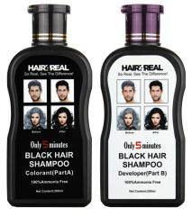Hair4Real Hair Dye Shampoo Black 400ml with 12 Sets of Gloves & 1 Apron Free