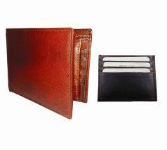 Light & Dark Brown Combination Of 100% Genuine Leather Mens Wallet & Card Holder LTW-MBR-7020C