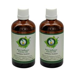 R V Essential Pure Safflower Carrier Oil (100ml+100ml) Pack of Two- Carthamus Tinctorius