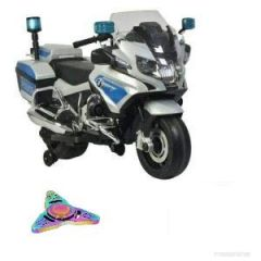 WHEEL POWER BABY BATTERY OPERATED BMW POLICE BIKE GREY FREE FIDGET