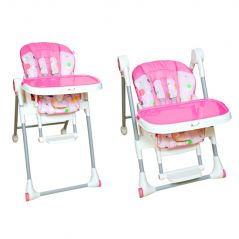 HARRY & HONEY 2 IN 1 BABY HIGH CHAIR PINK WITH KEY CHAIN