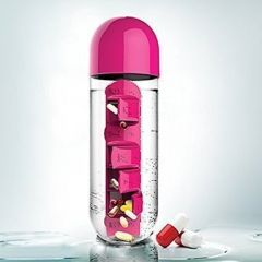 kreativekudie 2 in 1 Weekly Medicine Vitamins 600ML Pill Water Bottle
