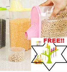 kreative kudie Cereal Dispenser large Jar 2500ml Set of 2 Idle For Kitchen(Set of 2,Multicolor).FREE BIRDY