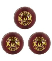 KDM Sports Magic Red Leather Ball - Pack of 3