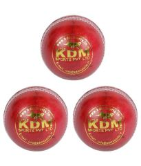 KDM Sports Spark Red Leather Ball - Pack Of 3