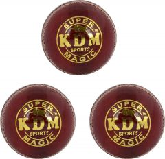 KDM Sports Magic Cricket Ball - Size 3, Diameter 7 cm (Pack of 3, Maroon)