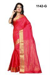Mahadev Enterprises Red banarasi silk weaving Saree with blouse RJM1142G